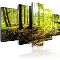 Schilderij - Poëzie in het Bos, Groen, 5luik