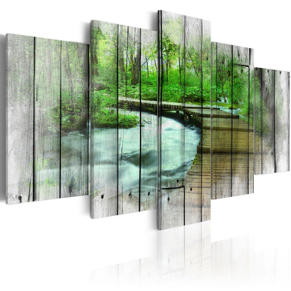 Schilderij - Bos met Geheimen, 5luik