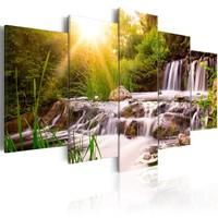 Schilderij - Waterval in een Bos, 5luik