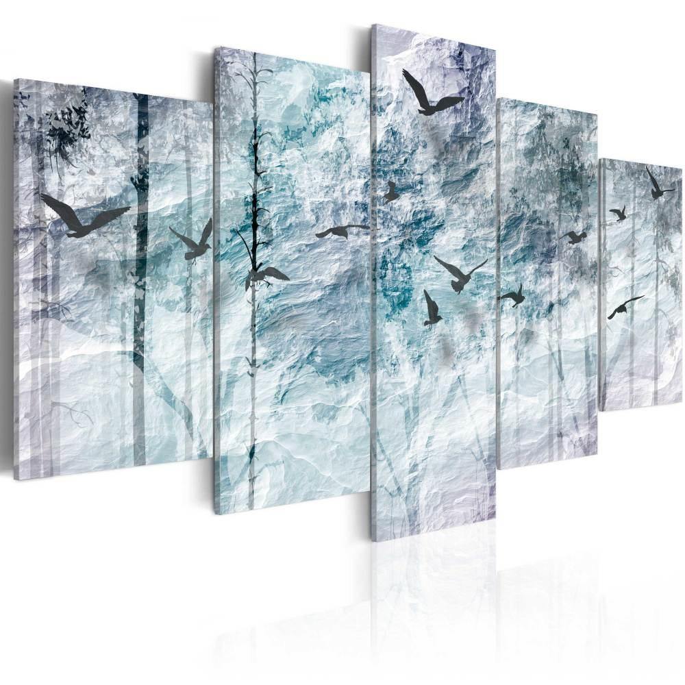 Schilderij - Papieren Bos, 5luik
