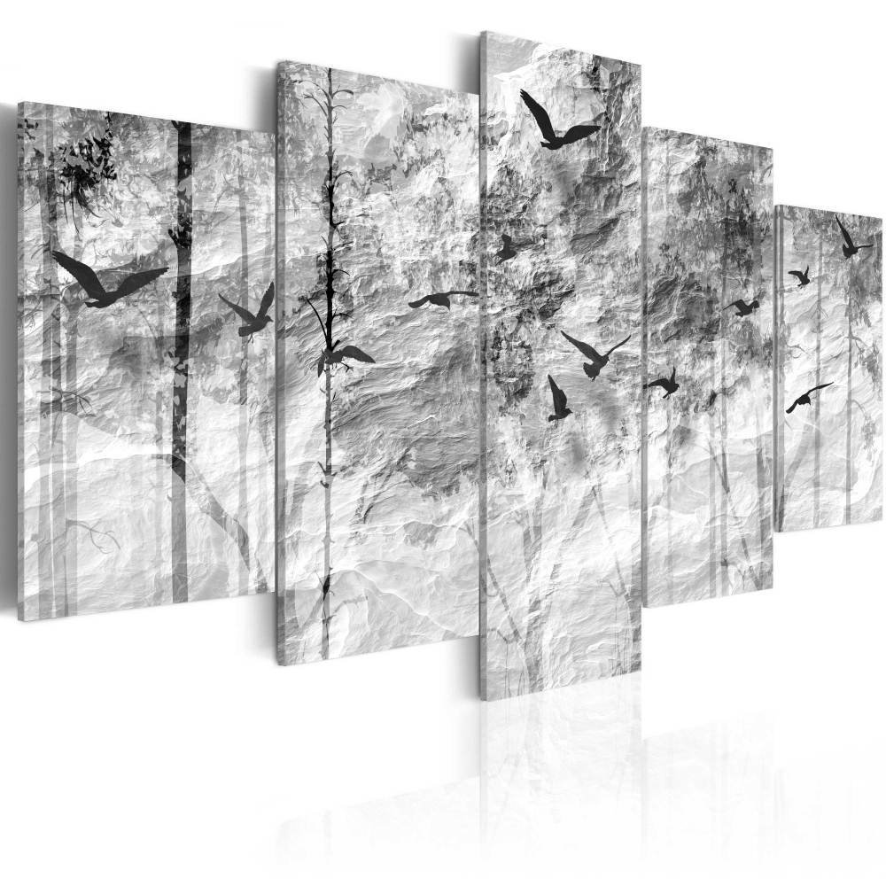 Schilderij - Papieren Bos, Zwart-Wit, 5luik