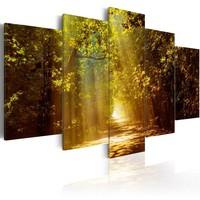 Schilderij - Bos in het Zonlicht, 5luik