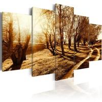 Schilderij - Amberkleurige boomgaard, 5luik