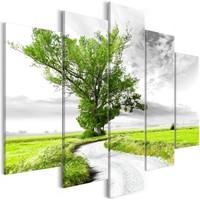 Schilderij - Eenzame boom langs de weg, 5luik 225X100
