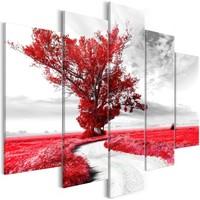 Schilderij - Boom langs de weg, Rood, 5luik