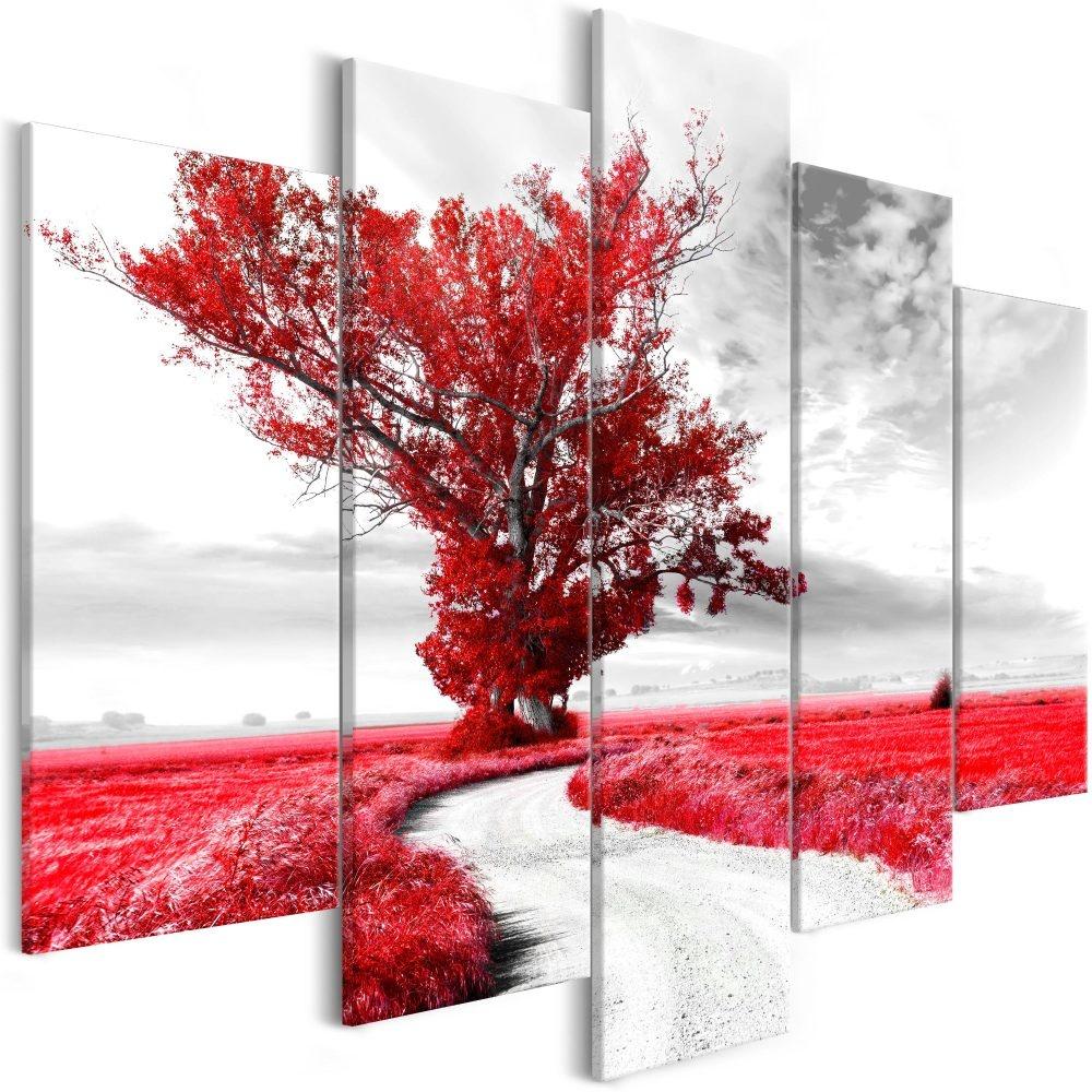 Schilderij - Eenzame boom, Rood, 5luik, 225x100
