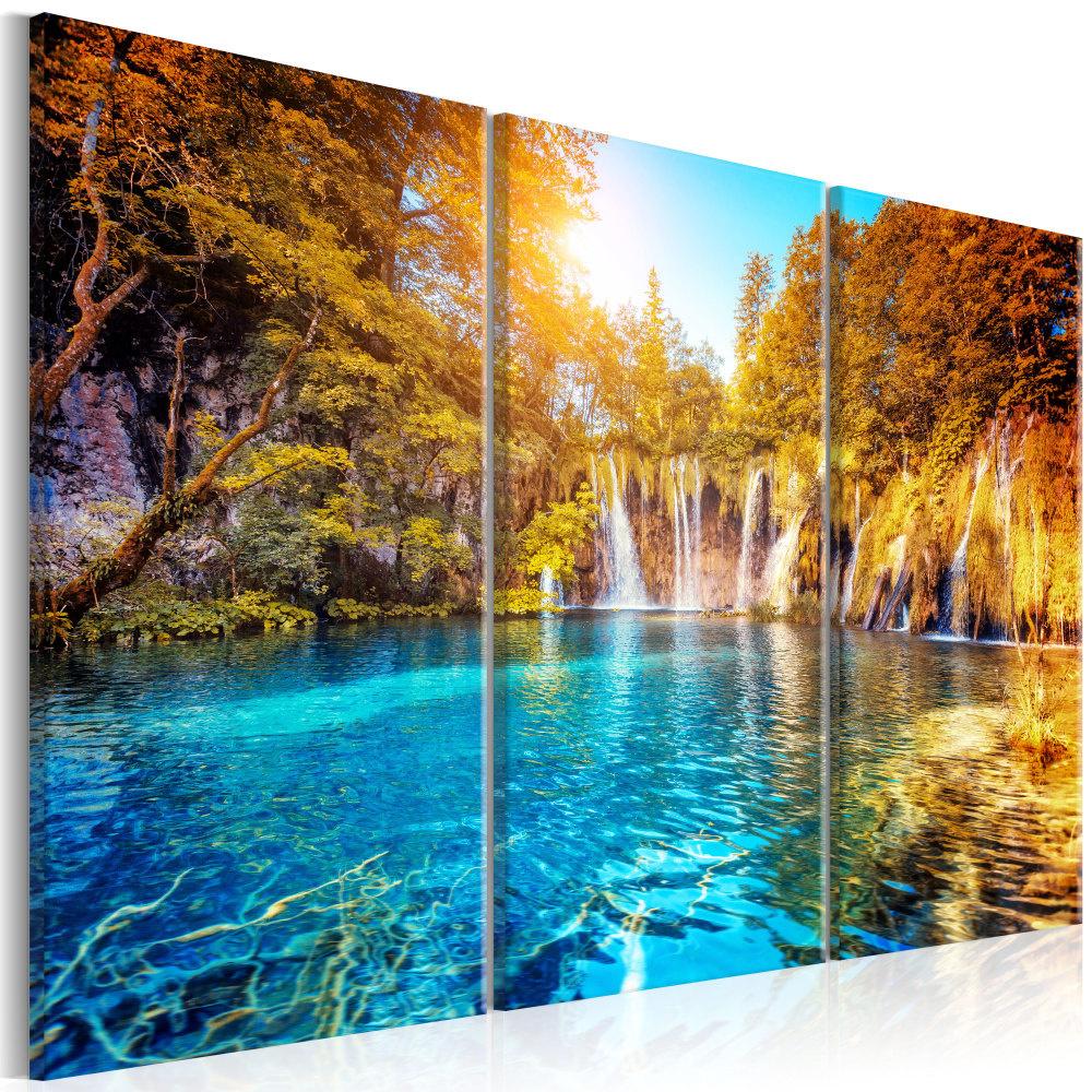 Schilderij - Watervallen van Zonnig Woud, 3luik
