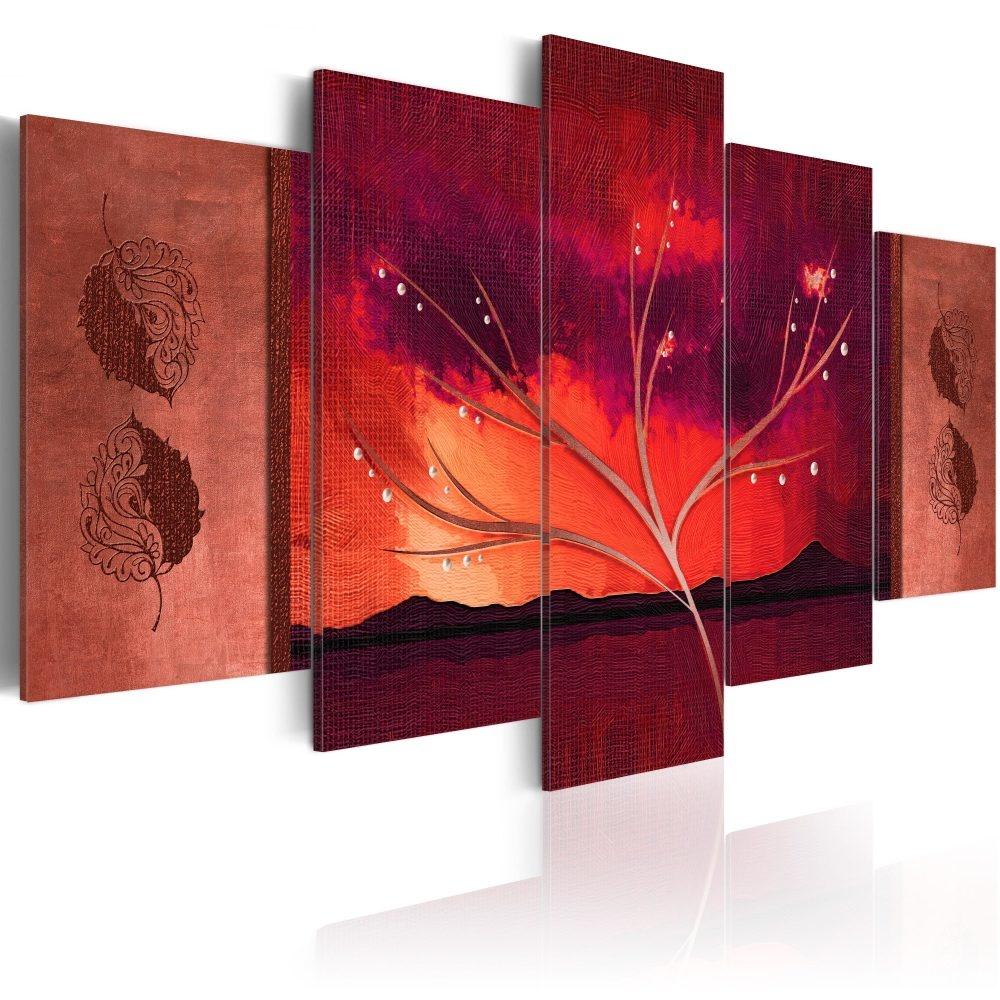 Schilderij - Karmijnrode herfst, 5luik