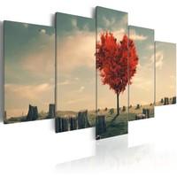 Schilderij - Eenzaamheid Boom in het rood, 5luik
