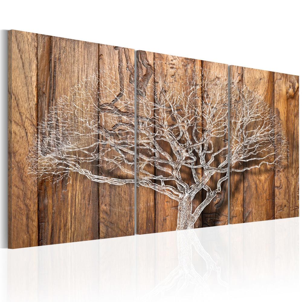 Schilderij - Verhalen van de Wind, boom in de winter , 3luik