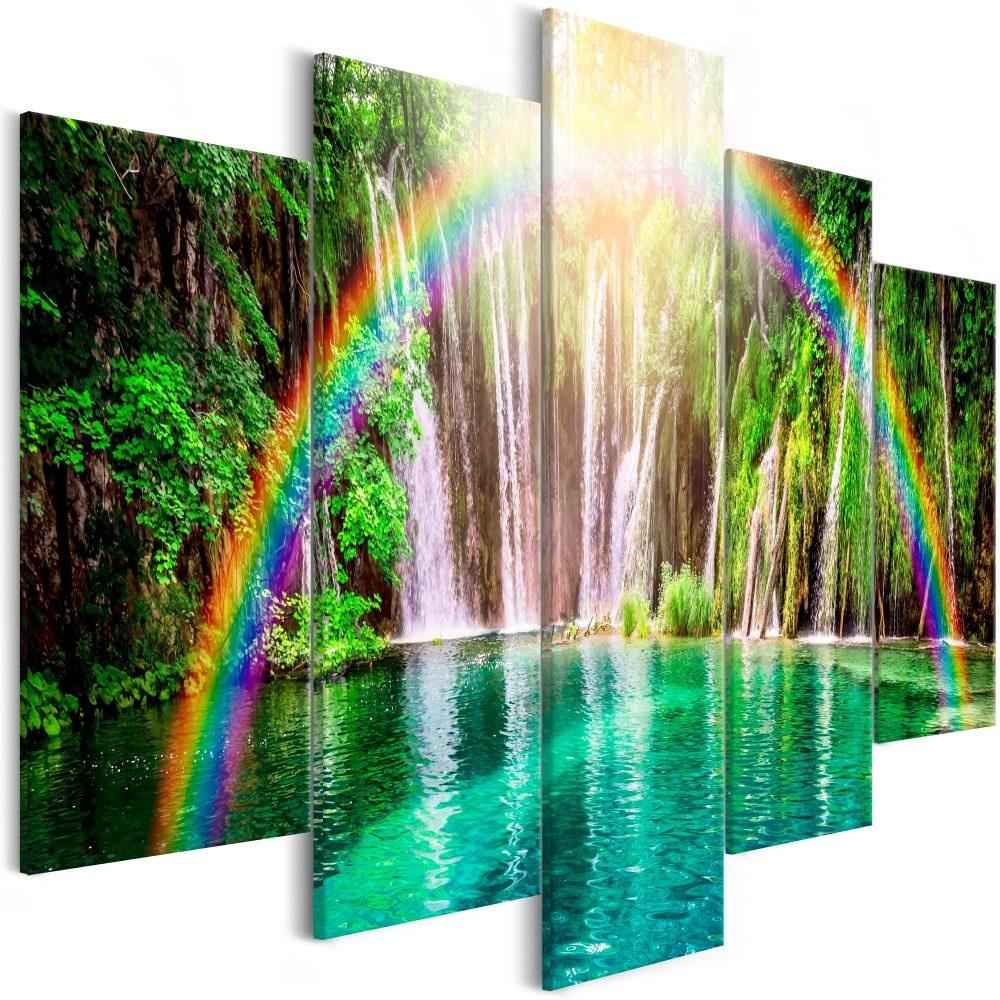 Schilderij - Regenboog bij Waterval, 5luik, 225x100