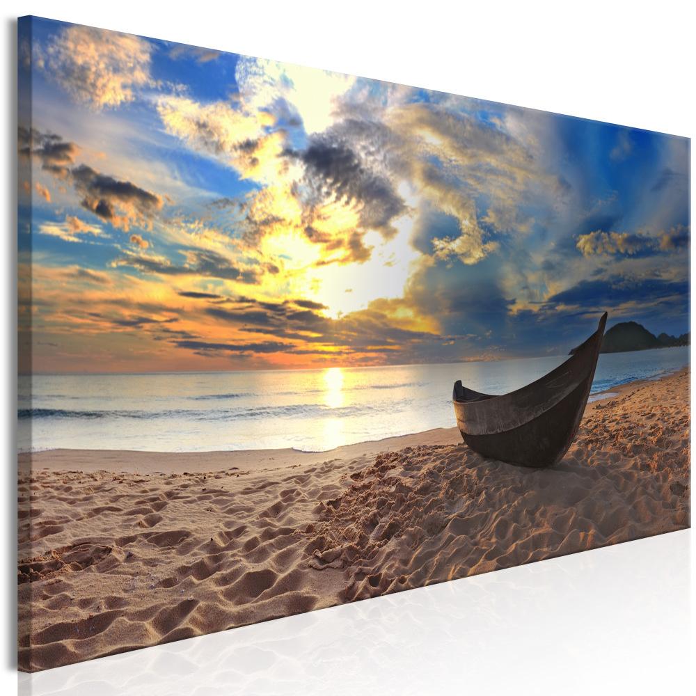 Schilderij - Boot op het Strand