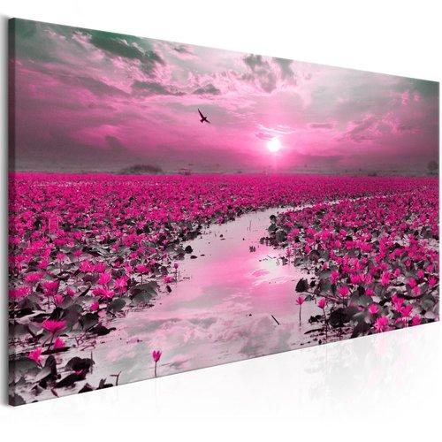 Schilderij - Lelies en Zonsondergang