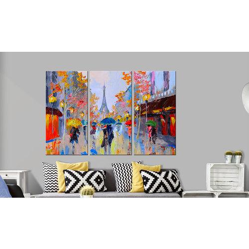 Schilderij - Regen in Parijs, 3luik