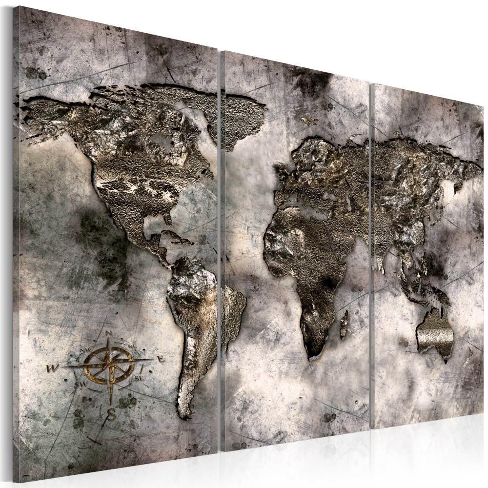 Schilderij - Opalescente wereldkaart, 3luik