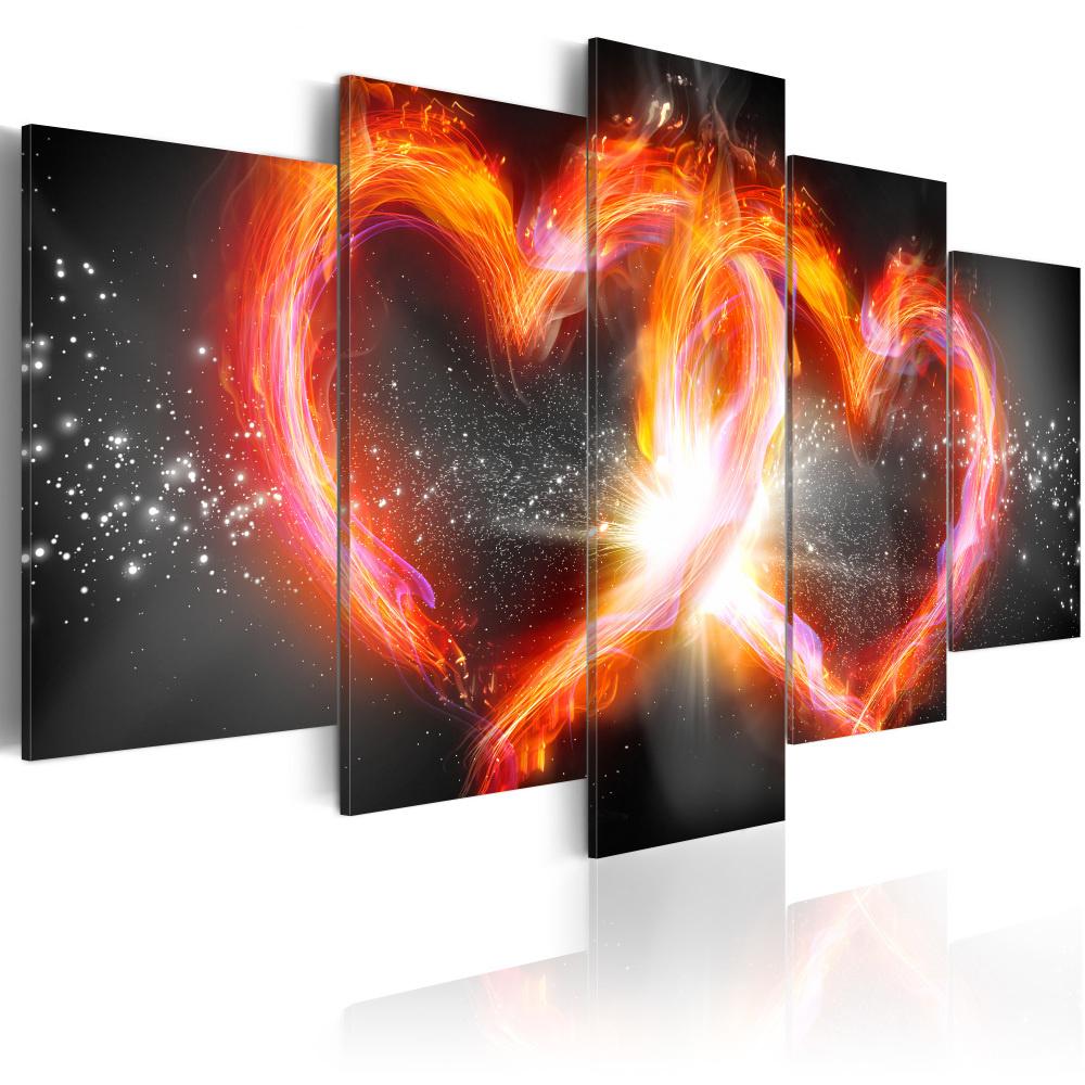 Schilderij - Vlammende liefde II, 5 luik