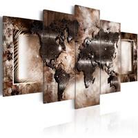 Schilderij - Platinum kaart, wereldkaart, 5 luik