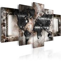 Schilderij - Grafiet Wereldkaart, 5luik