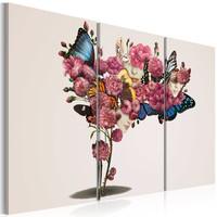 Schilderij - Vlinders, bloemen en carnaval, 3luik