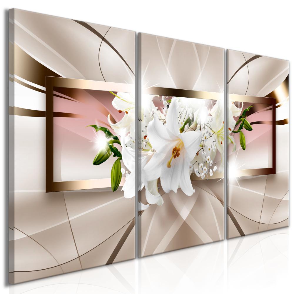 Schilderij - Witte Orchidee, 3luik