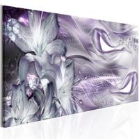 Schilderij - Lelies en golven, paars
