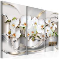 Schilderij - Bloeiende Orchidee, 3luik