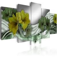 Schilderij - Smaragdgroene ketting, 5luik