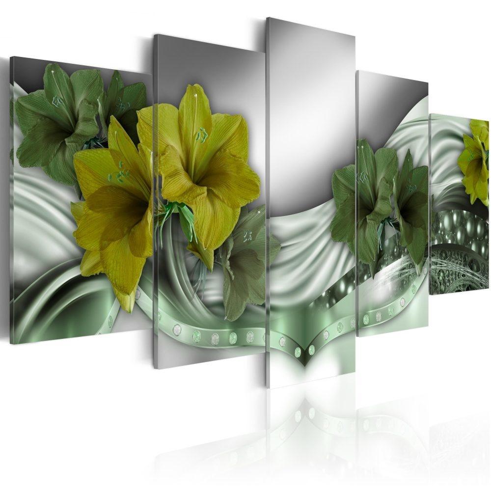 Schilderij - Smaragdgroene ketting, 5luik - 200x100 cm