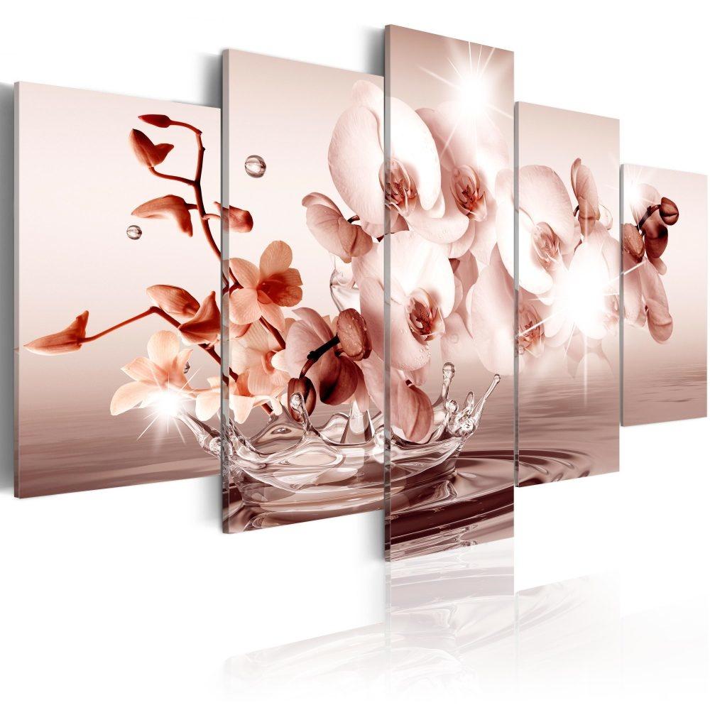 Schilderij - Lyriek van Orchideeën, 5luik - 200x100 cm