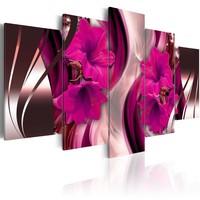 Schilderij - Fuchsia avond, 5luik