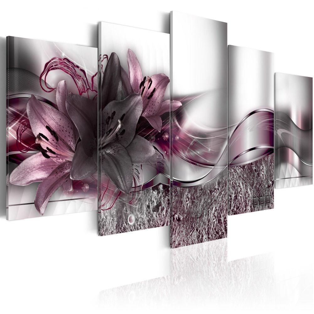 Schilderij - Paars Lint, 5luik - 200x100 cm