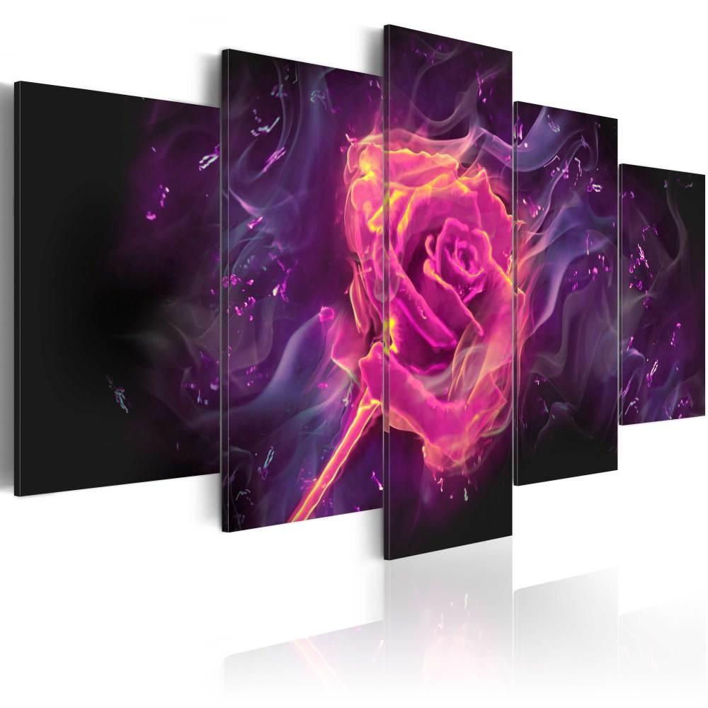 Schilderij - Roos in vlammen, 5luik - 200x100 cm