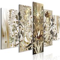 Schilderij - Gouden boom, 5luik, 225x100