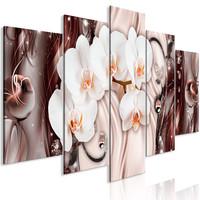 Schilderij - Waterval van Orchidee, 5luik, 225x100