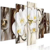 Schilderij - Orchidee waterval, 5luik, 225x100