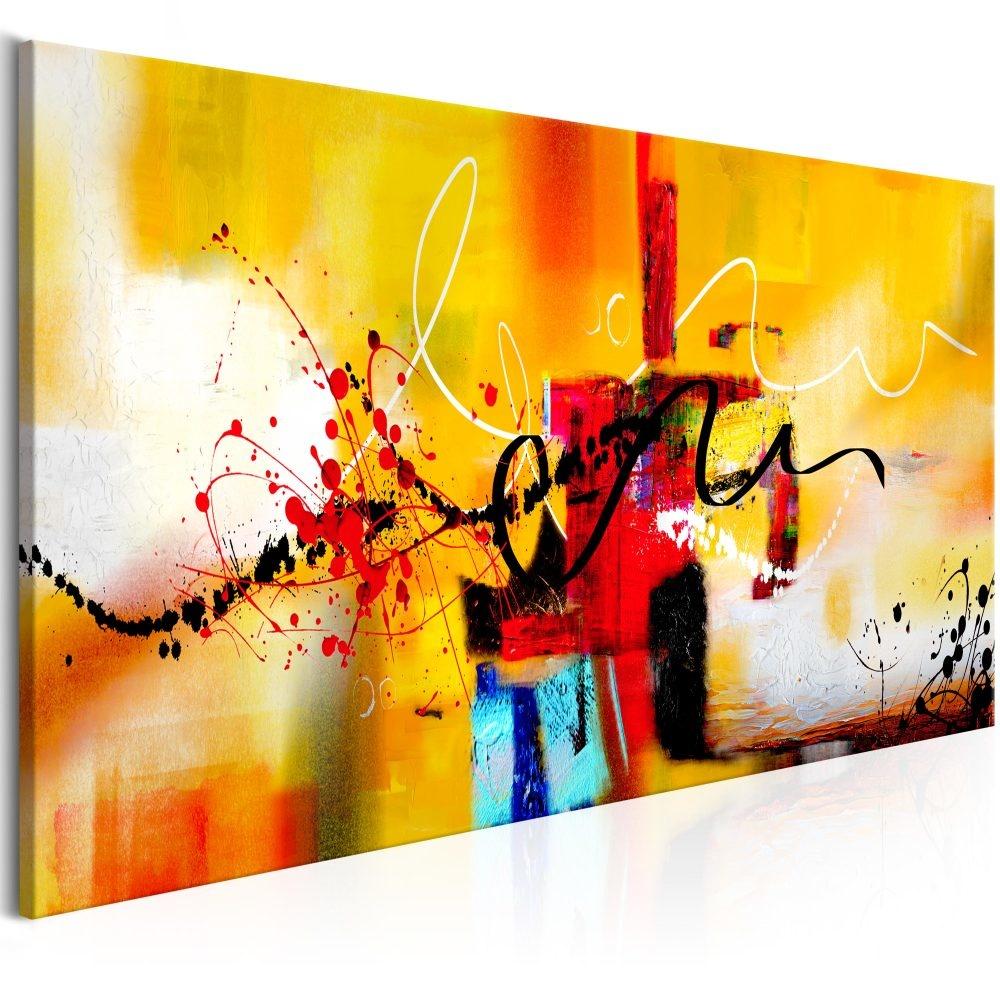 Schilderij - Gekke Kronkels, Oranje