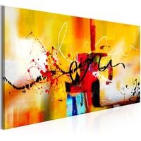 Schilderij - Gekke Kronkels, Oranje, 100x45