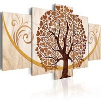 Schilderij - Gouden boom van Liefde, 5luik