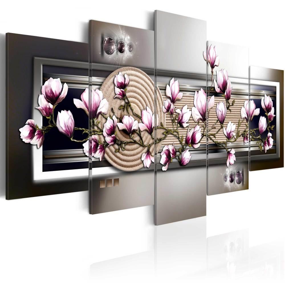 Schilderij - Magnolia en Zen Tuin, 5luik