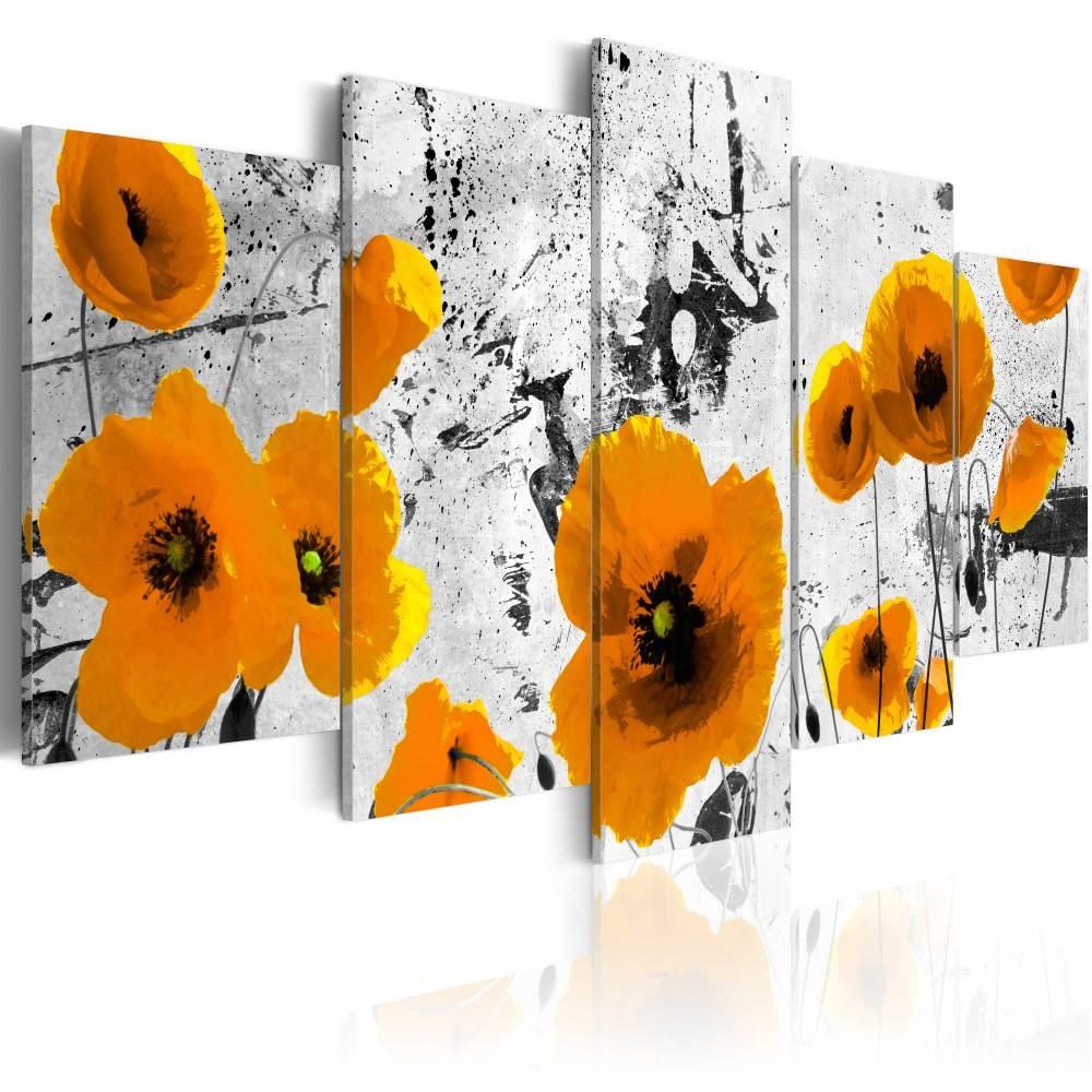 Schilderij - Gele Klaprozen, 5luik