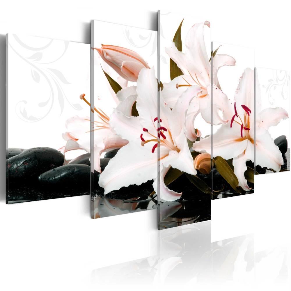 Schilderij - Zen stenen en lelies, 5luik