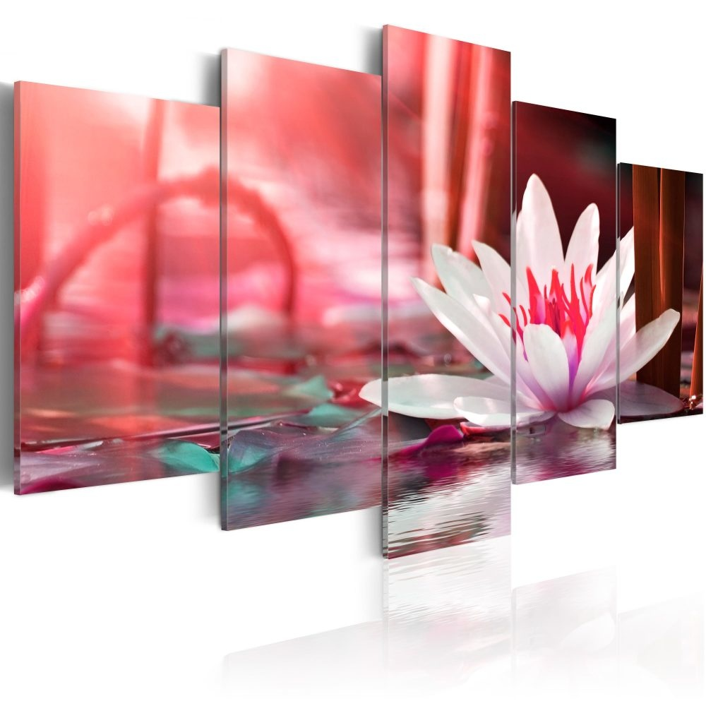Schilderij - Amarantijnse lotus, 5luik