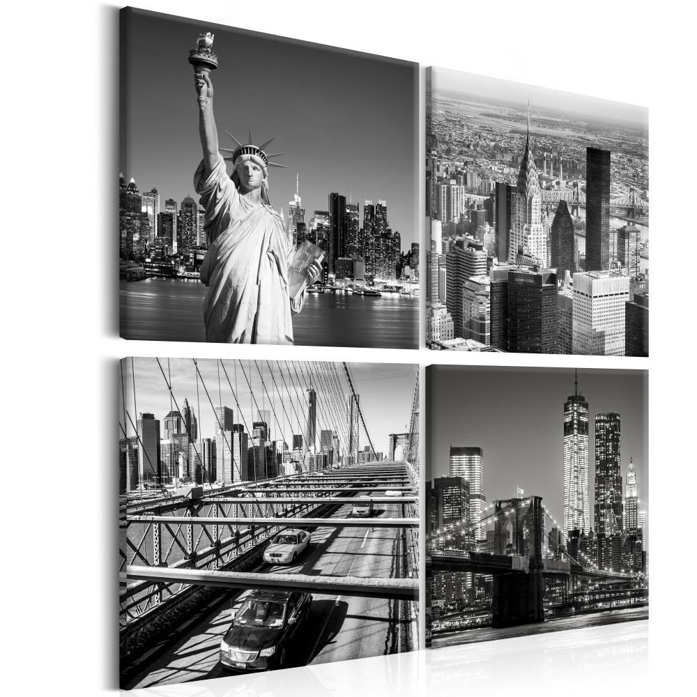 Schilderij - Gezichten van New York , 4 luik