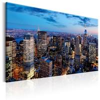 Schilderij - Bewondering van de Avond in New York