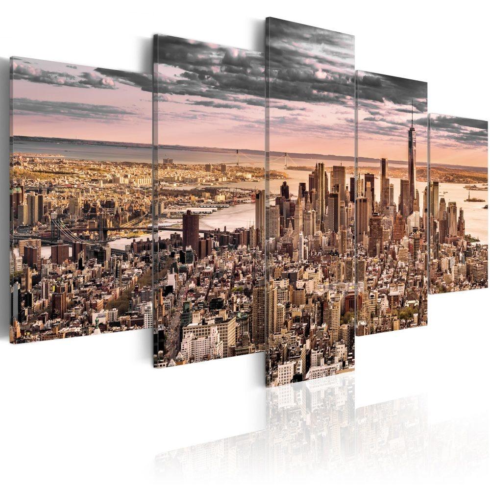 Schilderij - New York City: Ochtend Lucht , 5 luik