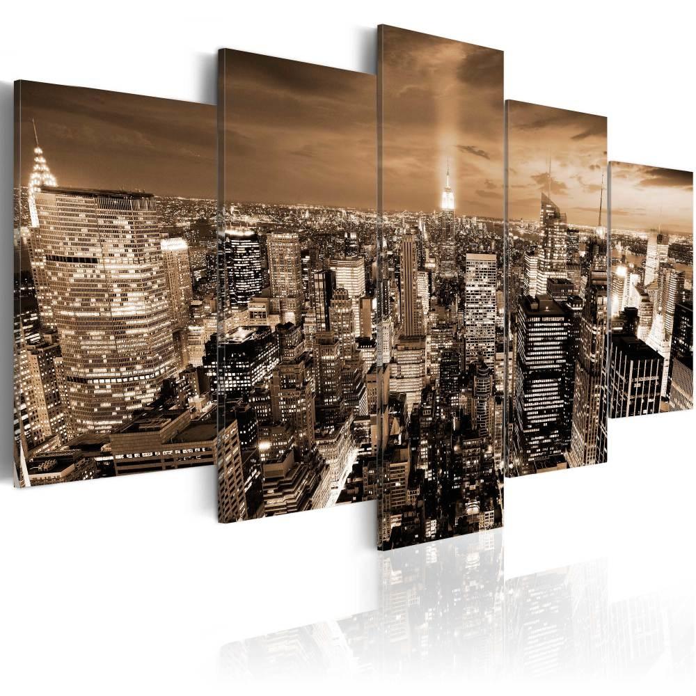 Schilderij - New York: Licht in de Nacht , 5 luik