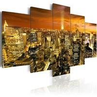 Schilderij - New York: amber , 5 luik