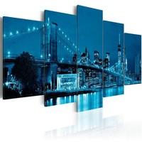 Schilderij - New York City in Blauw , 5 luik