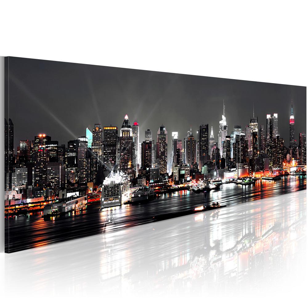 Schilderij - Droom over New York , Skyline 135x45cm