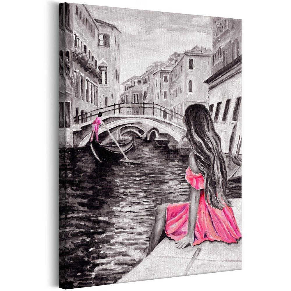Schilderij - Vrouw in venetie